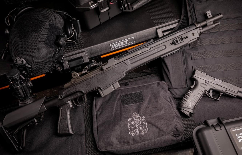 Фото обои пистолет, оружие, gun, pistol, винтовка, weapon, rifle, M14, marksman, m&p, MK14, XDM Elite