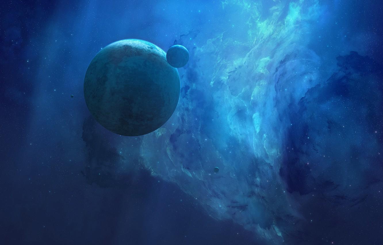 Фото обои Звезды, Планета, Космос, Туманность, Планеты, Fantasy, Planets, Арт, Stars, Space, Art, Спутник, Planet, Фантастика, Nebula, …