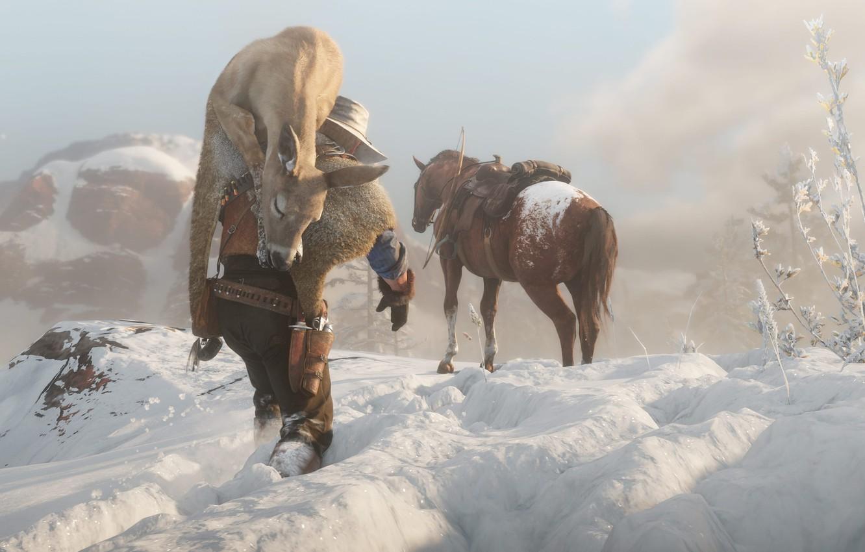 Фото обои снег, следы, лошадь, шляпа, Rockstar, Бандит, Red Dead Redemption 2