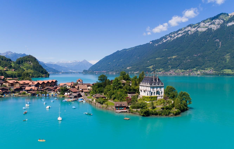 Фото обои city, lake, homes, sailboats, luxuries