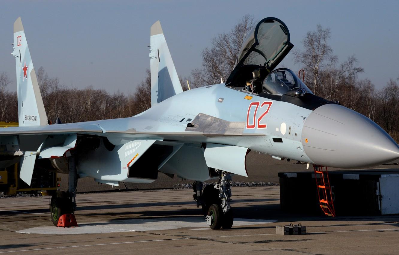 Фото обои истребитель, аэродром, российский, сверхманевренный, Су 35С