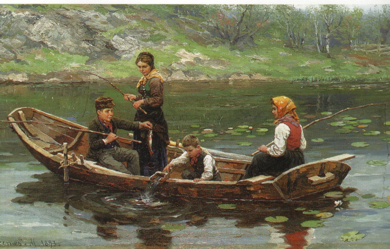 Фото обои дети, озеро, лодка, рыбалка, EKENAES