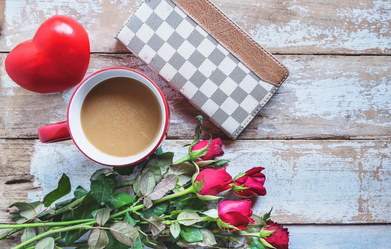 Фото обои любовь, цветы, розы, букет, сердечки, красные, red, love, flowers, romantic, hearts, coffee cup, valentine's day, …