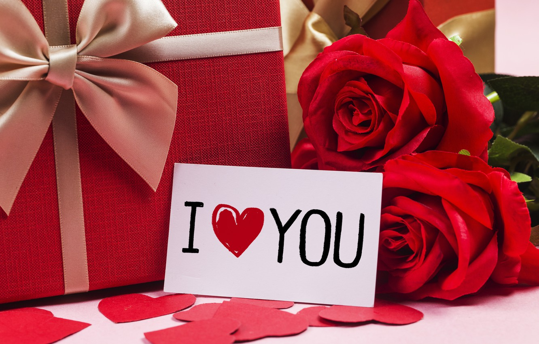 Обои gift, сердечки, roses, розовые розы, I love you. Настроения foto 17