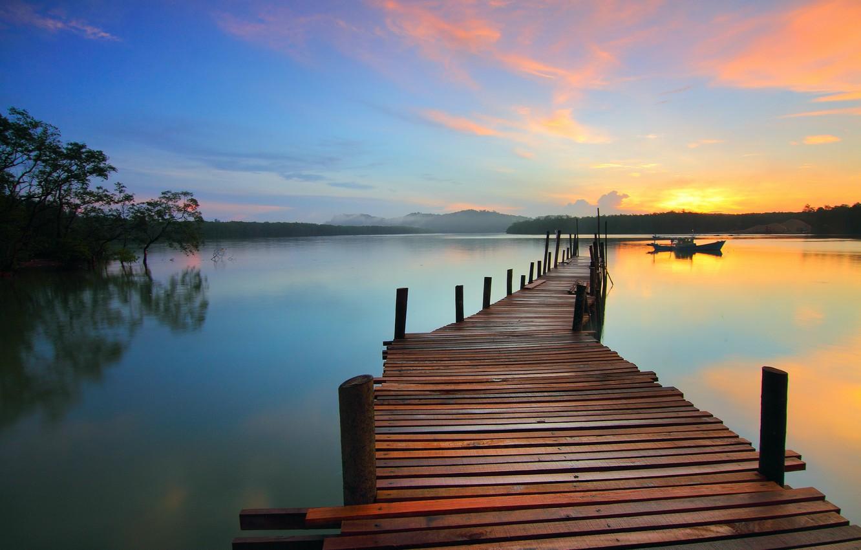 Фото обои озеро, лодка, красота, причал, простор, пирс, водная гладь, lake, beauty, beautiful landscape, pier, boat, красивый …