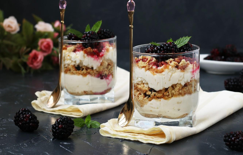 Фото обои ягоды, печенье, крем, десерт