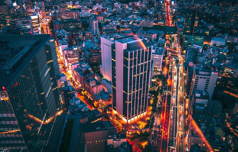 Фото обои ночь, город, Токио