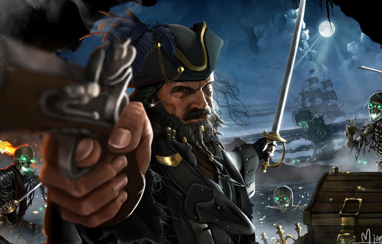 Фото обои Ночь, Пистолет, Луна, Корабль, Сундук, Пират, Мертвецы