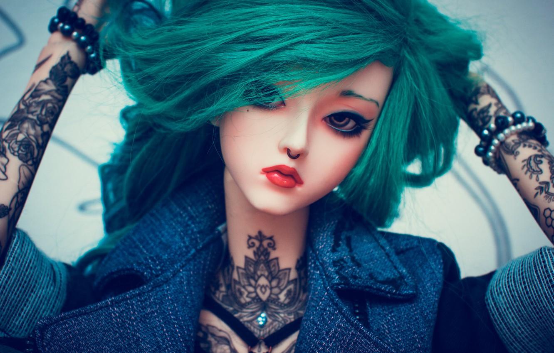 Фото обои девушка, лицо, волосы, кукла