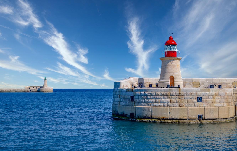 Фото обои море, небо, маяк, Средиземное море, Malta, Мальта, Валлетта, Valletta, Mediterranean Sea, St Elmo Lighthouse