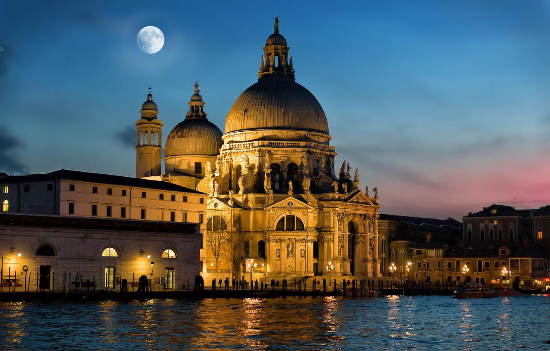 Фото обои ночь, город, луна, освещение, Италия, Венеция, собор, архитектура, Гранд-канал