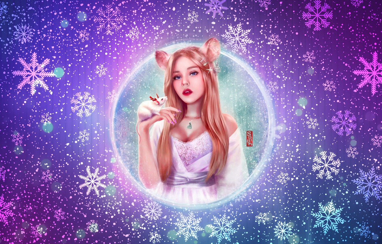 Фото обои Зима, Девушка, Снег, Блондинка, Новый Год, Стиль, Girl, Снежинки, Фон, Мышка, Праздник, Арт, Beautiful, Art, …