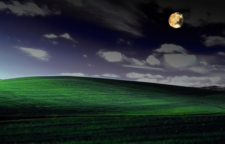 Фото обои ночь, безмятежность, фотошоп, windows xp, знаменитая обоина