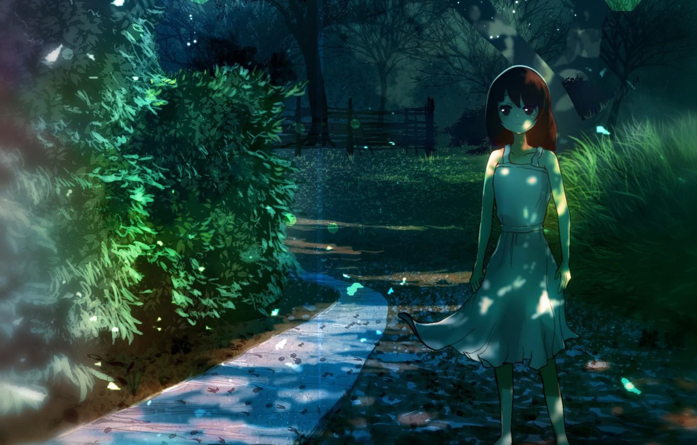 Фото обои девочка, рыжие волосы, каникулы, тропинка, на дороге, белый сарафан, листва деревьев, летний день, свет и …