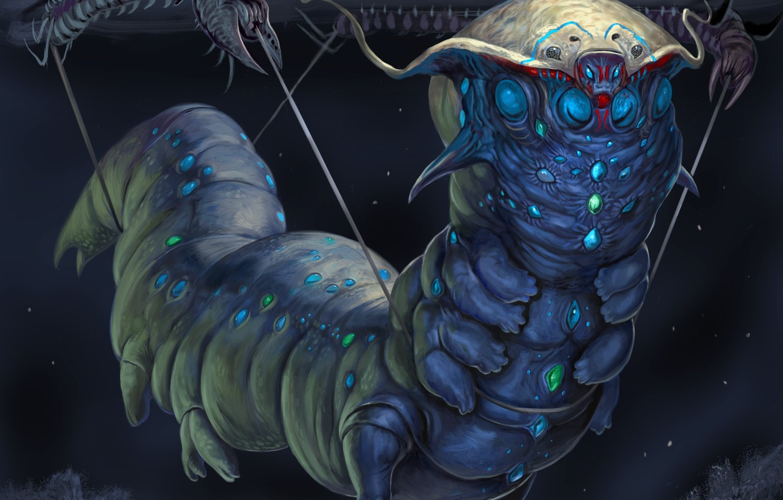 Фото обои гусеница, темный фон, существо, fantasy art, creature, dark background, caterpillar, фэнтези арт, инопланетное создание, alien …