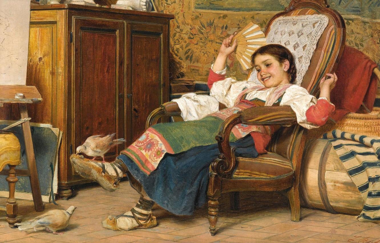 Фото обои итальянский живописец, 1919, Italian painter, Luigi Bechi, oil on canvas, Луиджи Бечи, The pet doves, …
