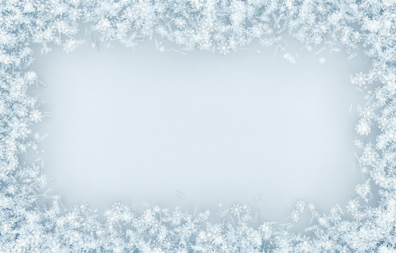 Фото обои снег, снежинки, фон, white, christmas, winter, background, snow, snowflakes, frame
