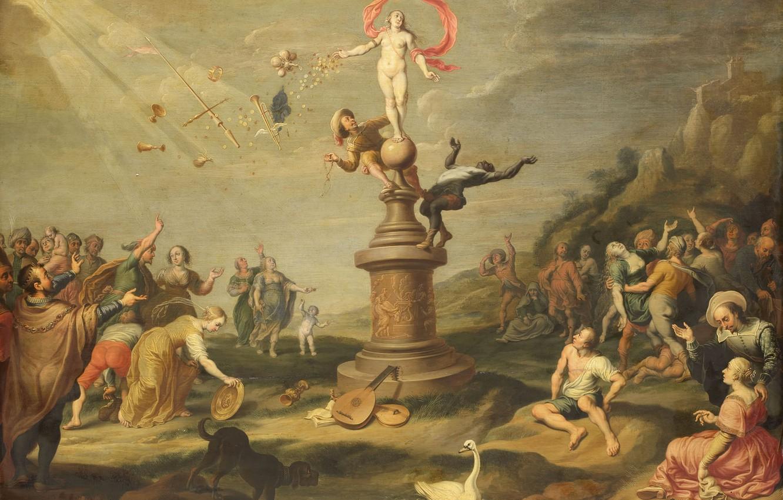 Фото обои масло, картина, мифология, 1671, Корнелис де Белье, Фортуна Делится Своими Подарками, Cornelis de Baellieur
