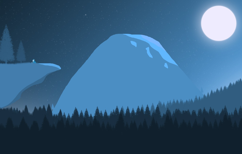 Фото обои поле, лес, звезды, пейзаж, ночь, скала, сияние, луна, гора, Горы, ночной пейзаж, лис, полнолуние, звездное …