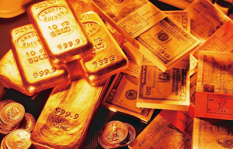 Фото обои деньги, монеты, слитки