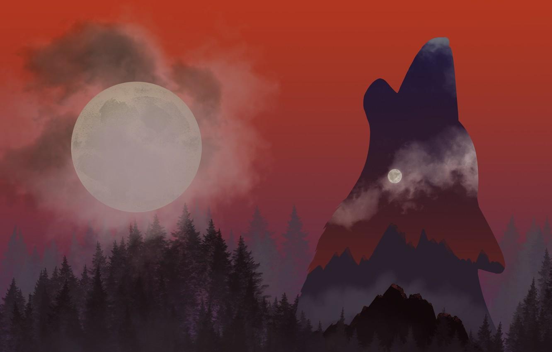 Фото обои лес, горы, луна, рисунок, волк