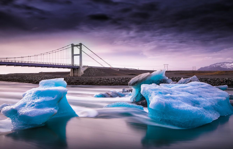 Фото обои мост, река, лёд