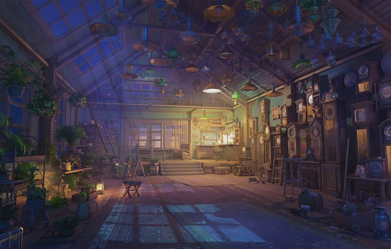 Фото обои часы, лейка, лунный свет, мастерская, сумерки, много, табуретки, arsenixc, комнатные растения, настольная лампа, абажуры, by …