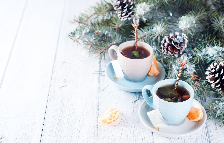 Фото обои украшения, Новый Год, Рождество, Christmas, wood, winter, snow, cup, New Year, tea, decoration, Merry, fir …