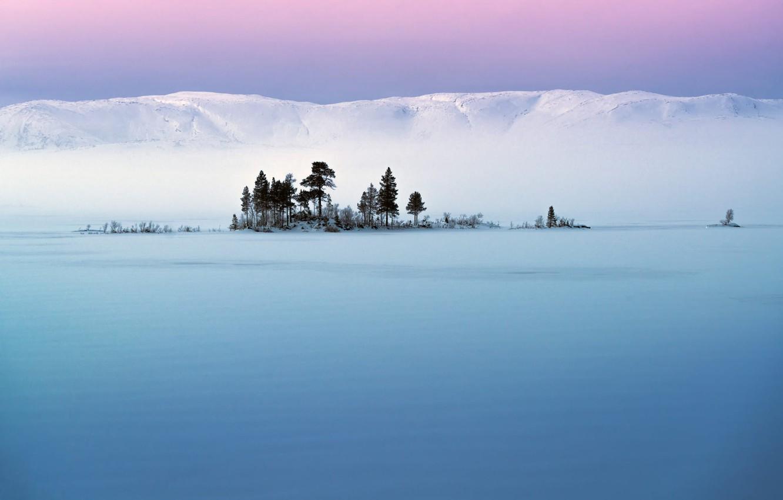Фото обои небо, снег, холмы, Деревья, Adnan Bubalo