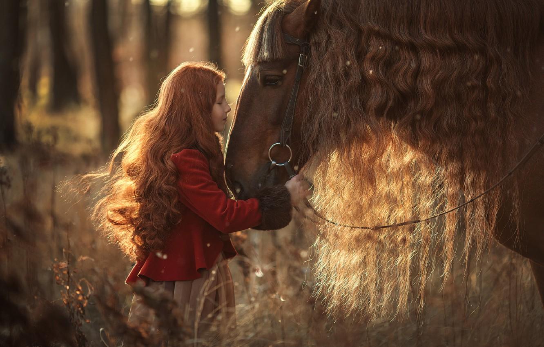 Фото обои лес, природа, поза, фото, волосы, лошадь, ребенок, девочка, Анюта Онтикова