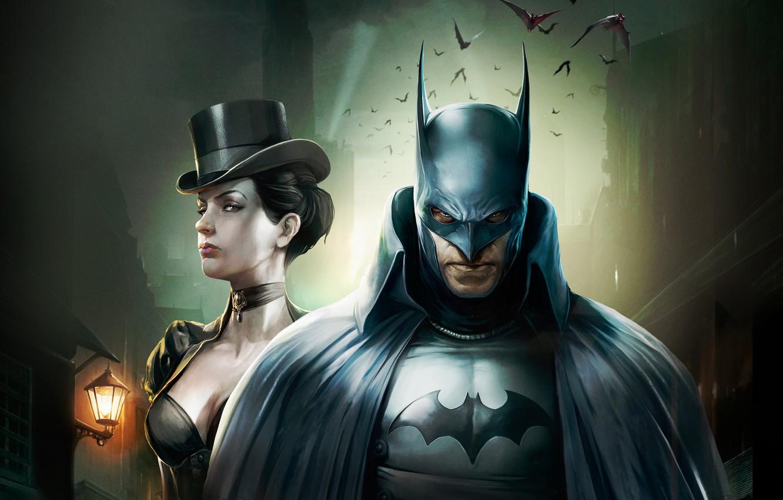Фото обои Batman, DC Comics, Catwoman, Bruce Wayne, Movie, Batman:Gotham by gaslight