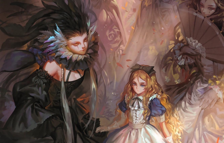 Фото обои дамы, веер, декольте, перчатки, черное платье, бант, рыжеволосая, длинные волосы, art, Alice, alice in wonderland, …