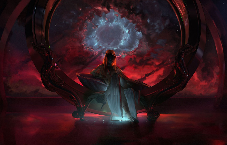 Фото обои Девушка, Космос, Туманность, Girl, Богиня, Арт, Space, Art, Фантастика, Nebula, Goddess, Science Fiction, Wen-JR, Богоявление, …