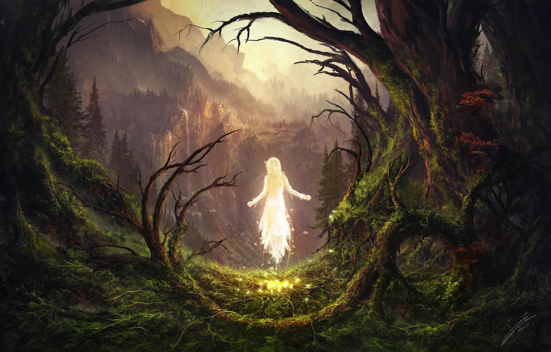 Фото обои деревья, горы, существо, The Awakening, The Sleeping Green