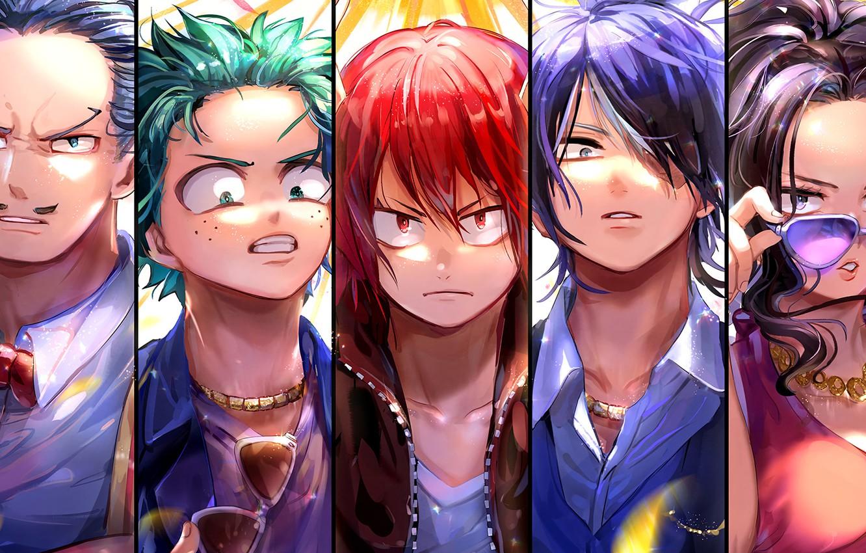 Фото обои коллаж, персонажи, My Hero Academia, Boku No Hero Academia, Моя Геройская Академия
