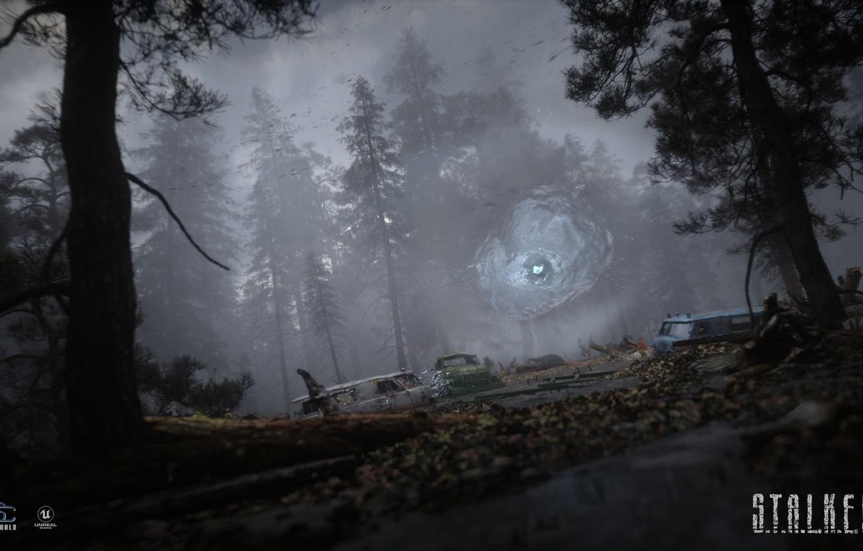 Фото обои свалка, Сталкер, зона, S.T.A.L.K.E.R, Stalker 2, черный лес