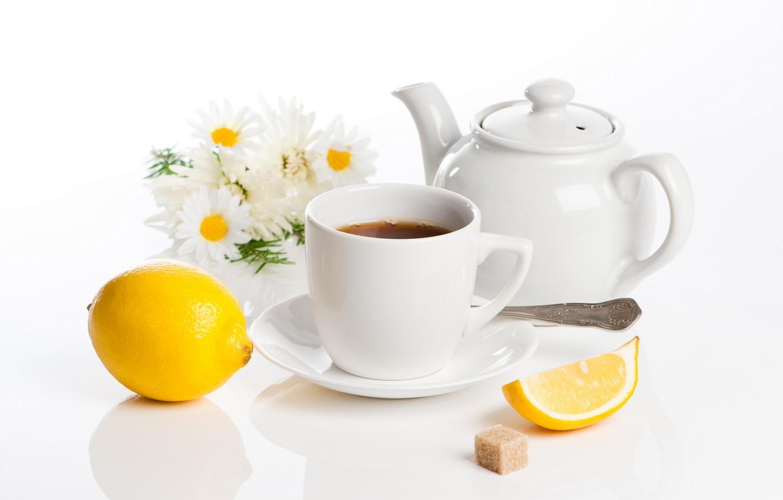 Фото обои цветы, лимон, чай, чайник, чашка, сахар, натюрморт