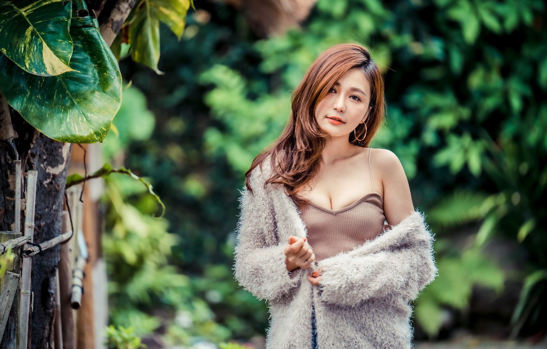Фото обои взгляд, девушка, шатенка, азиатка, боке