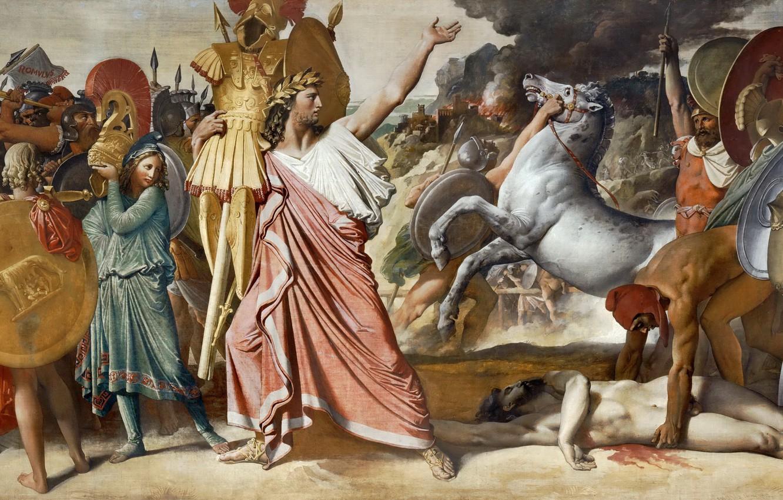Фото обои 1812, Жан Огюст Доминик Энгр, Ромул - победитель Акрона