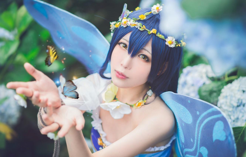 Фото обои лето, взгляд, девушка, бабочки, цветы, насекомые, лицо, поза, стиль, фон, волшебство, магия, бабочка, эльф, портрет, …