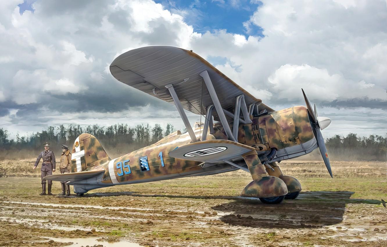 Фото обои war, art, airplane, aviation, ww2, FIAT CR.42