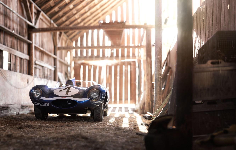 Фото обои Ретро, Сарай, Автомобиль, Jaguar D-Type