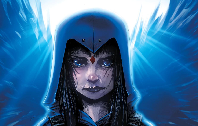 Фото обои Крылья, Комикс, Капюшон, DC Comics, Голубые глаза, Wings, Hood, Blue eyes, Комиксы, Crystal, Raven, Рэйвен, …