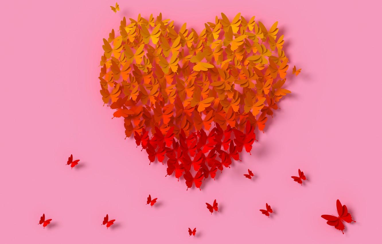 Фото обои бабочки, рендеринг, сердце, colorful, love, heart, композиция, rendering, paper, butterflies, composition, floral