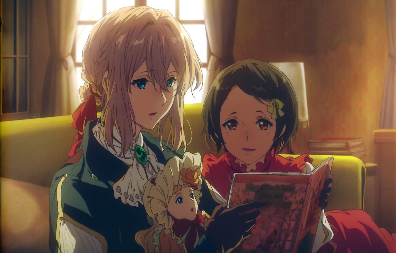 Фото обои кукла, девочка, перчатки, книга, в комнате, чтение, брошь, Violet Evergarden, by Akiko Takase, Ann Magnolia