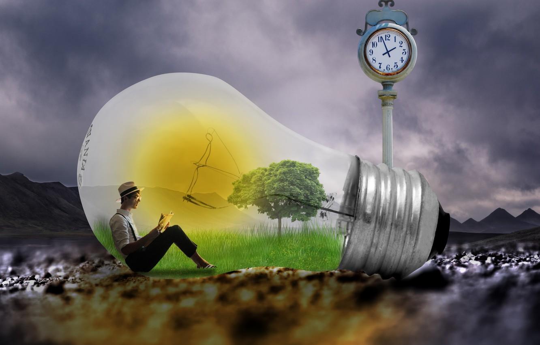Фото обои свет, человек, лампа