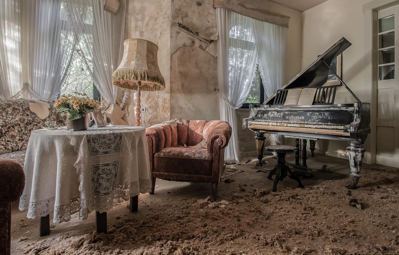 Фото обои комната, кресло, пианино