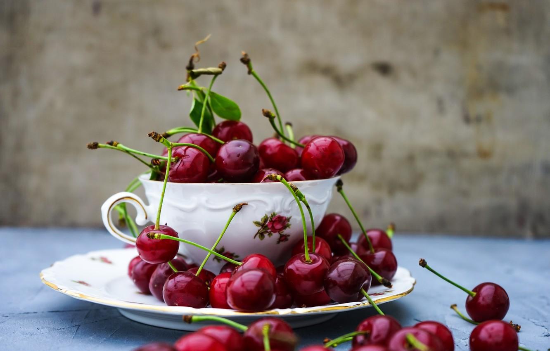Фото обои лето, вишня, тарелка, чашка