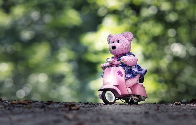 Фото обои настроение, игрушка, мишка, медвежонок, мотороллер, боке, скутер