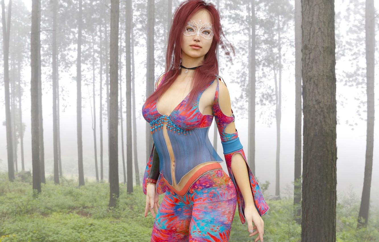 Фото обои лес, девушка, фон, маска